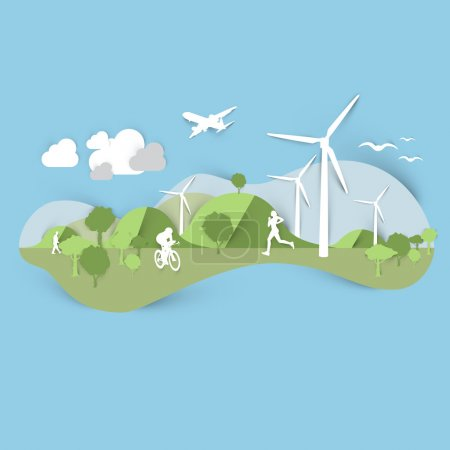 Illustration for Green technology and ecology composition of paper elements, vector illustration - Royalty Free Image