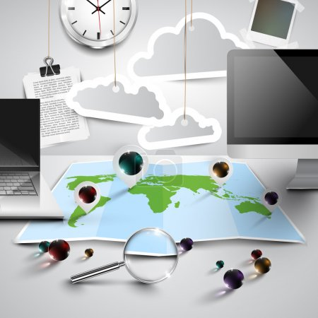 World map in office entourage
