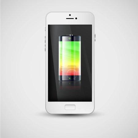 Illustration pour Charge du smartphone indiquée par son affichage, illustration vectorielle - image libre de droit