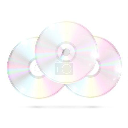 Three CD DVDs on White