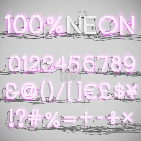 Illustration for Realistic neon alphabet with wires (OFF), vector - Royalty Free Image