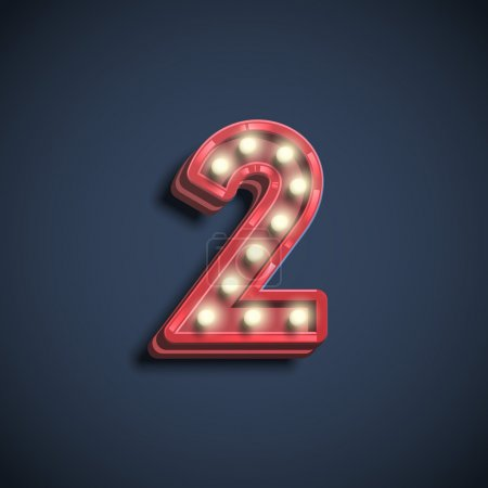 Number two typography with neon electric bulbs, ve...