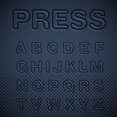 Blue pressed signs set vector