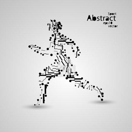 Illustration for Sport circuit board running man eps10, vector elegant illustration - Royalty Free Image