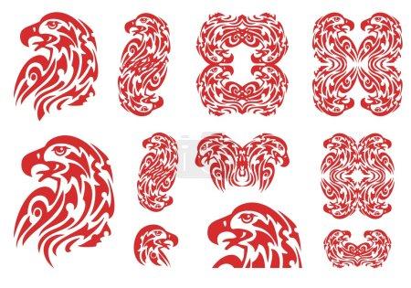 Illustration pour L'ensemble des têtes d'aigle brûlantes, des symboles d'aigle doubles et des cadres d'aigle, idéal pour les graphiques de véhicules, les autocollants et les modèles de t-shirt - image libre de droit