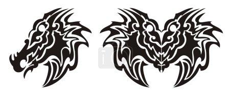 Illustration pour Tête de monstre tribale et tatouage de papillon dragon isolé sur un fond blanc - image libre de droit