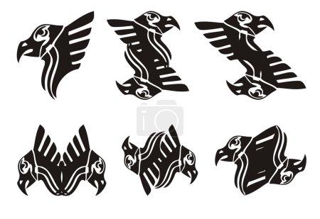 Tribal eagle head symbols