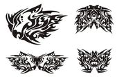 Black and white dragon elements tattoos