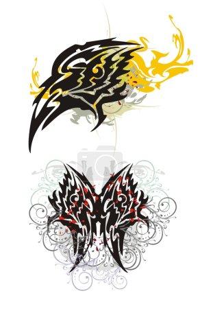 Illustration pour Tête d'aigle flamboyante et papillon avec éclaboussures, gouttes de sang et éléments floraux de style tribal - image libre de droit