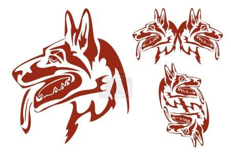 Flaming german shepherd dog in tribal style
