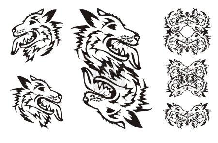 Samoyed dog breed. Tribal dog symbols