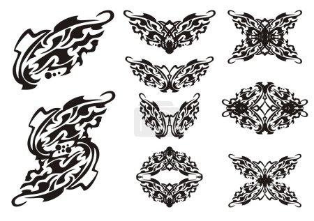 Illustration pour Tribal papillons ailes éléments tatouages. Noir sur le blanc - image libre de droit