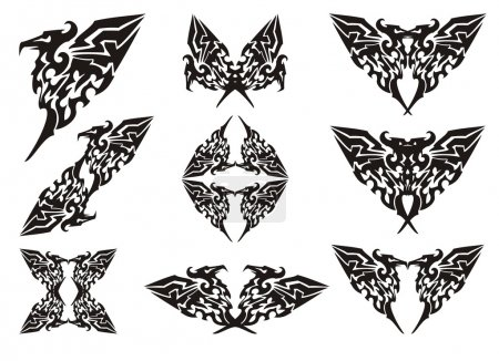 Eagle symbols in tribal style. Black on the white