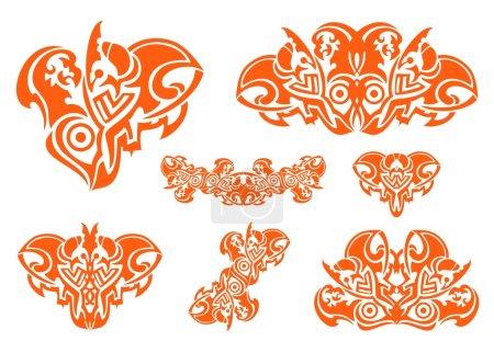 Illustration pour Symboles de coeurs flamboyants tribaux avec tête d'aigle isolée sur un fond blanc - image libre de droit