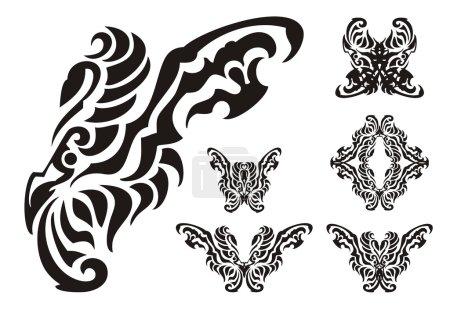 Illustration pour Aile d'un papillon en forme d'oiseau et les symboles de celui-ci - image libre de droit