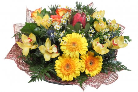 Floral arrangement flower bouquet of yellow gerberas, pale yellow orchids