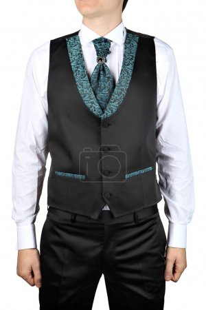 For man wedding dress, costume vest on a white background.