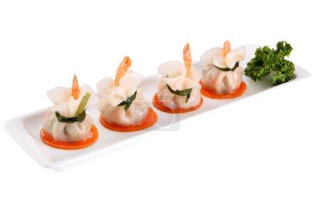 Dumpling dish, bag Dim Sum tail shrimp, Isolated on white.