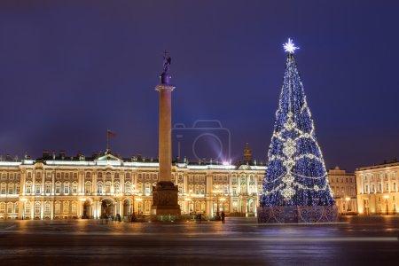Russia, Saint-Petersburg, Christmas tree lighting at night, near Hermitage Museum.