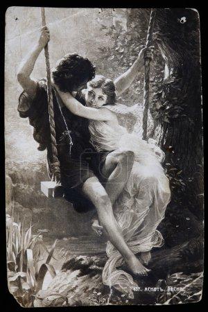 Photo pour Russie-circa 1910-1916 : Carte postale vintage, Reproduction de cartes postales antiques Springtime, Artiste français Pierre Auguste Cot . - image libre de droit