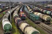 Freight trains on city cargo terminal, Russian Railways.