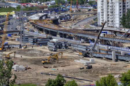 Building site,  construction viaduct transport interchanges, Russia, Saint Petersburg.