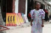 Africká dívka mine, obchod se suvenýry a umění venkovní