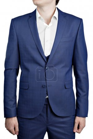 Photo for Deep blue mens checkered suit triple blazer with vest, isolated on white background. - Royalty Free Image