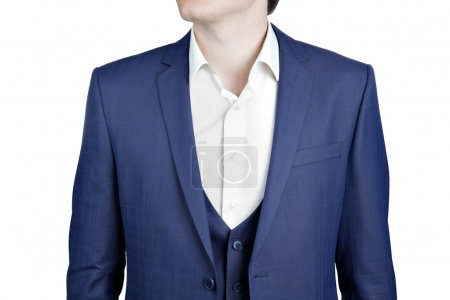 Close-up navy blue suit on prom night for men.