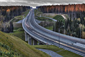 Speed track in Russia at sunset, crosses the autumn forest.