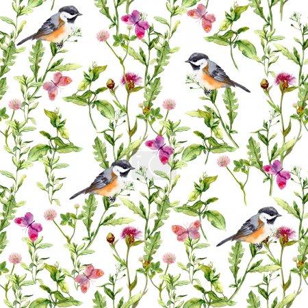 Photo pour Pré avec des papillons, des herbes et des oiseaux. Motif floral aquarelle transparente. - image libre de droit