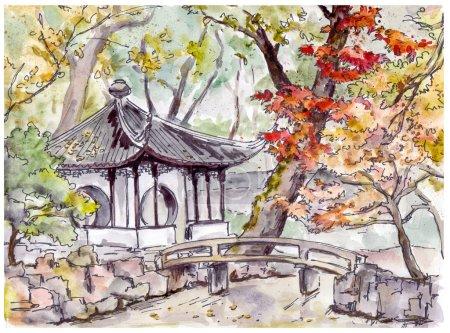 Jardin chinois avec pavillon pont et pagode à Suzhou, Chine
