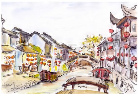 Watercolor painted chinese water canal in old town in China