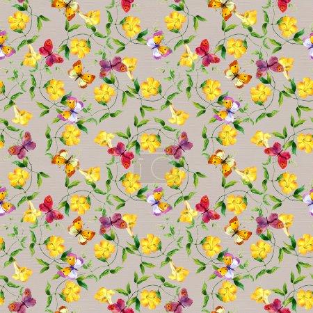 Photo pour Liseron de fleur jaune. Répétition motif floral. Fond d'aquarelle - image libre de droit
