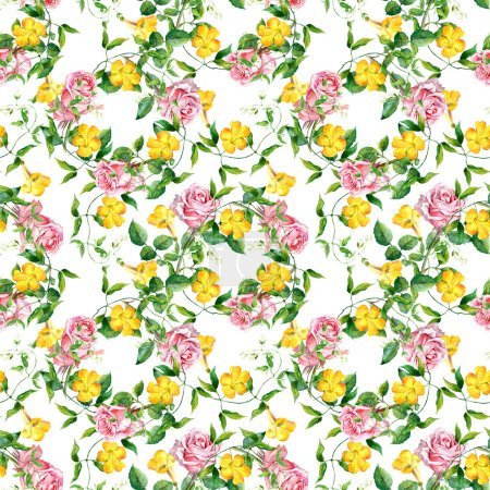 Repeating pattern with yellow flowers and roses, watercolor