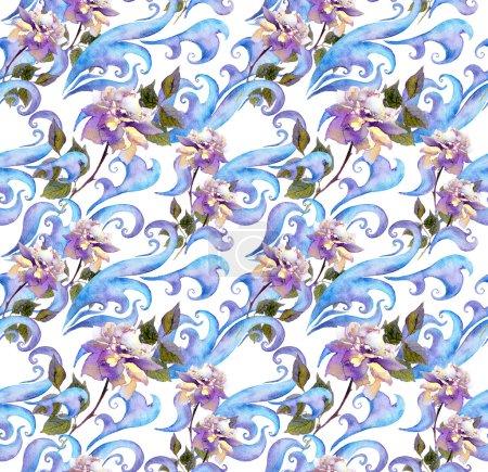 Photo pour Répéter l'hiver aquarelle motif d'impression florale. Conception d'aquarelle avec des fleurs roses, des rouleaux et des courbes - image libre de droit