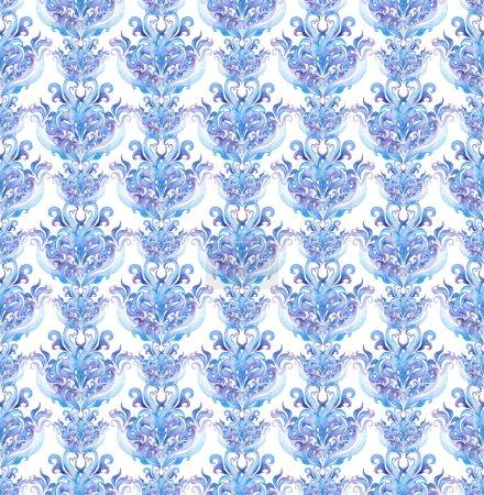 Photo pour Cadre de frontière hiver extensible. Aquarelle bande ornement décoratif avec des volutes et des courbes - image libre de droit