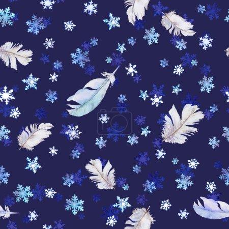 Photo pour Modèle de Noel avec des flocons de neige et des plumes. Fond d'aquarelle sans couture - image libre de droit