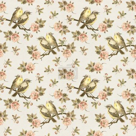 Photo pour Vintage fond transparente avec des oiseaux dans un jardin fleuri avec des fleurs roses rétro - image libre de droit