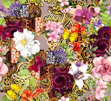Photo pour Fleurs et ornement indienne. Modèle sans couture aquarelle - image libre de droit