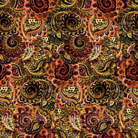 Photo pour Origine ethnique ornementale sans couture avec ornement floral oriental indien - image libre de droit