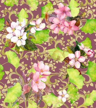 Photo pour Ornement floral de cru, fleurs - fleur de cerisier et feuilles. Ornement d'aquarelle sans couture pour la conception de mode - image libre de droit