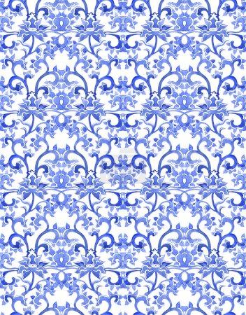 Photo pour Floral motif répétitif ornemental chinois. Aquarelle ornement oriental - image libre de droit