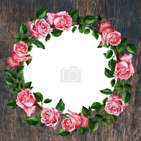 Rose flower wreath on wood background. Floral circle border. Watercolor