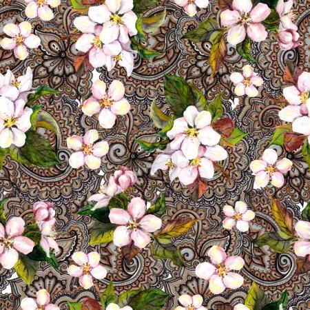 Photo pour Répétition motif fleurs de printemps et ornement filigrane ethnique - image libre de droit