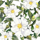 Seamless floral pattern with flowers. Watercolor painting on white background