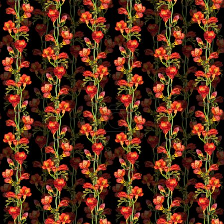 Photo pour Sans soudure arrière-plan floral avec main peint fleurs freesia rouge coloré - image libre de droit