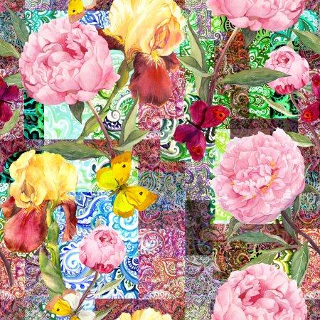 Photo pour Motif floral sans soudure. Fleurs de pivoines roses et d'IRIS. Illustrations aquarelle - image libre de droit