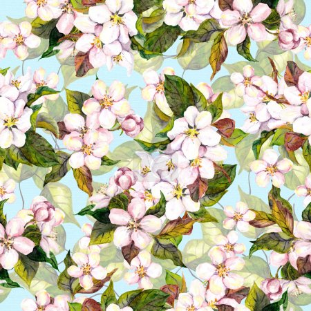 Seamless floral pattern with white fruit tree flower - cherry blossom on blue sky background. Watercolour art
