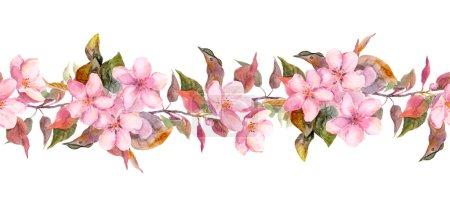 Photo pour Modèle floral sans couture avec la pomme peinte d'aquarelle et les fleurs de cerise s'épanouissant, d'isolement - image libre de droit